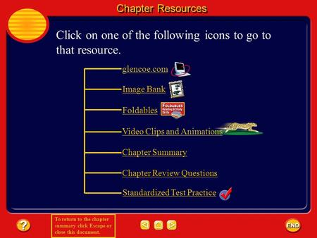 To return to the chapter summary click Escape or close this document. Chapter Resources Click on one of the following icons to go to that resource. glencoe.com.