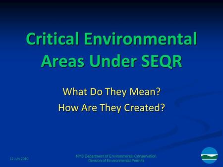 12 July 2010 NYS Department of Environmental Conservation Division of Environmental Permits Critical Environmental Areas Under SEQR What Do They Mean?