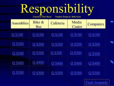 Responsibility Content by: Pam Mason Template Design by: Mark Geary Assemblies Bike & Bus Cafeteria Media Center Computers Q $100 Q $200 Q $300 Q $400.