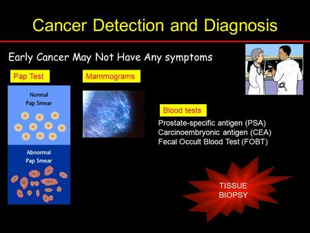 Cancer Detection and Diagnosis Early Cancer May Not Have Any symptoms Pap Test Mammograms Blood tests Prostate-specific antigen (PSA) Carcinoembryonic.