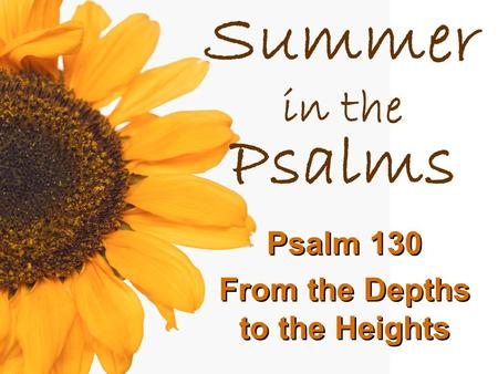 Summer in the Psalms Psalm 130 From the Depths to the Heights.