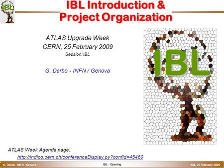 IBL - Opening G. Darbo - INFN / Genova AW, 25 February 2009 o IBL Introduction & Project Organization ATLAS Upgrade Week CERN, 25 February 2009 Session: