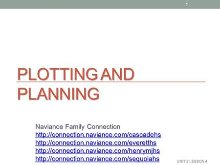 PLOTTING AND PLANNING Naviance Family Connection