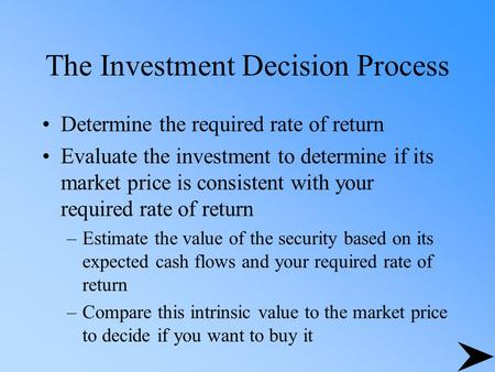 The Investment Decision Process Determine the required rate of return Evaluate the investment to determine if its market price is consistent with your.