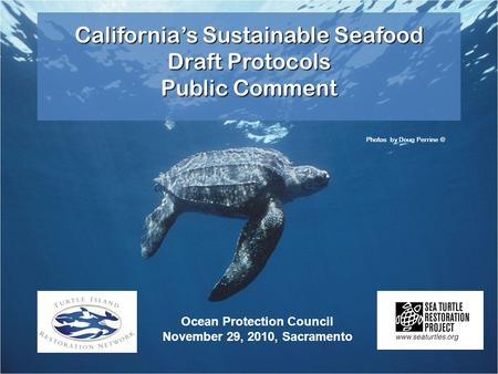 California's Sustainable Seafood Draft Protocols Public Comment Photos by Doug Perrine © Ocean Protection Council November 29, 2010, Sacramento.