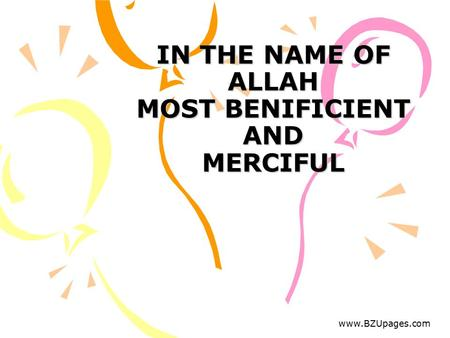 Www.BZUpages.com IN THE NAME OF ALLAH MOST BENIFICIENT AND MERCIFUL.
