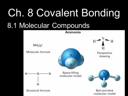 Ch. 8 Covalent Bonding 8.1 Molecular Compounds. I. Molecules A. Neutral groups of atoms joined by covalent bonds B. Covalent bonds: atoms share electrons.