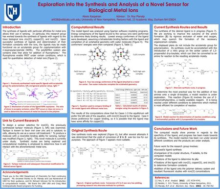Exploration into the Synthesis and Analysis of a Novel Sensor for Biological Metal Ions Alexis Kasparian Advisor: Dr. Roy Planalp