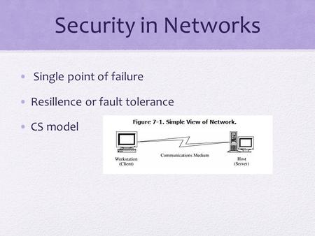 Security in Networks Single point of failure Resillence or fault tolerance CS model.