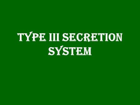 Type III Secretion System.  Type III Secretion System (TTSS) is a mechanism used by bacteria to establish an infection or symbiotic relationship with.