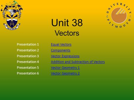 Unit 38 Vectors Presentation 1Equal Vectors Presentation 2Components Presentation 3Vector Expressions Presentation 4Addition and Subtraction of Vectors.