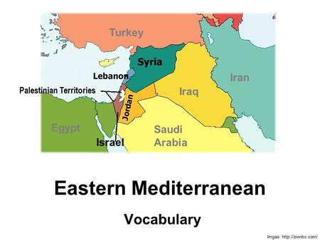 Eastern Mediterranean Vocabulary Imgae:  Palestinian Territories Israel Egypt Iraq Iran Saudi Arabia Turkey.