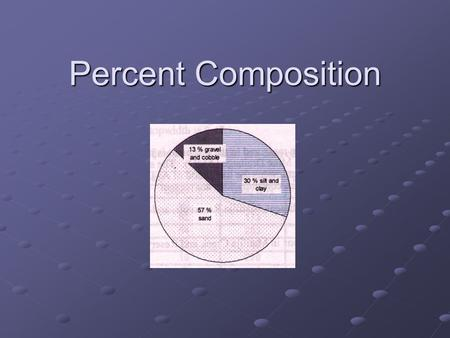 Percent Composition. What is it? The percent composition by mass of a compound represents the percent that each element in a compound contributes to the.