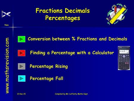 Num 13-Dec-15Compiled by Mr. Lafferty Maths Dept. Fractions Decimals Percentages www.mathsrevision.com Conversion between % Fractions and Decimals Finding.