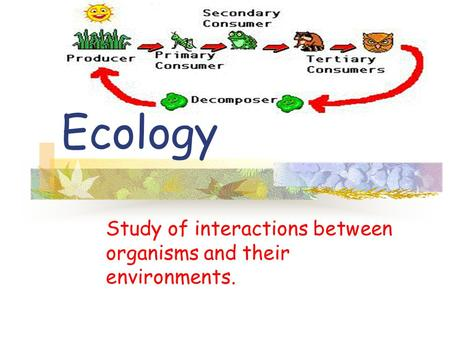 Study of interactions between organisms and their environments. Ecology.