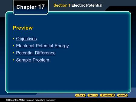 © Houghton Mifflin Harcourt Publishing Company Preview Objectives Electrical Potential Energy Potential Difference Sample Problem Chapter 17 Section 1.