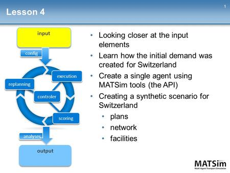 Lesson 4 1 Looking closer at the input elements Learn how the initial demand was created for Switzerland Create a single agent using MATSim tools (the.