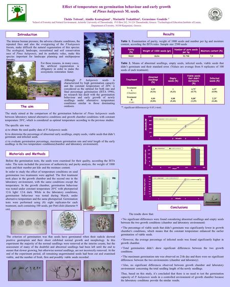 Introduction Effect of temperature on germination behaviour and early growth of Pinus halepensis M. seeds. Thekla Tsitsoni 1, Aimilia Kontogianni 1, Marianthi.