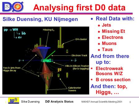 1 Silke Duensing DØ Analysis Status NIKHEF Annual Scientific Meeting 2001 1 Analysing first D0 data  Real Data with:  Jets  Missing Et  Electrons 