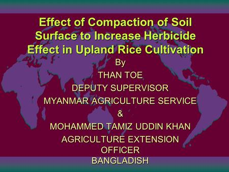 Effect of Compaction of Soil Surface to Increase Herbicide Effect in Upland Rice Cultivation By THAN TOE DEPUTY SUPERVISOR MYANMAR AGRICULTURE SERVICE.