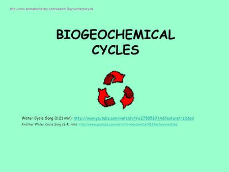 BIOGEOCHEMICAL CYCLES  Water Cycle Song (1:21 min):
