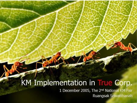 Knowledge Management True Corporation KM Implementation in True Corp. 1 December 2005, The 2 nd National KM Fair Ruangsak Sriwatthanah.