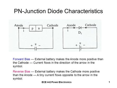 ECE 442 Power Electronics 1 PN-Junction Diode Characteristics Forward Bias --- External battery makes the Anode more positive than the Cathode --- Current.