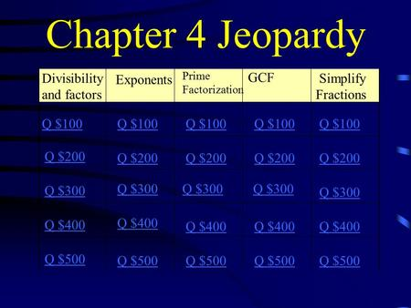Chapter 4 Jeopardy Divisibility and factors Prime Factorization GCF Simplify Fractions Q $100 Q $200 Q $300 Q $400 Q $500 Q $100 Q $200 Q $300 Q $400.