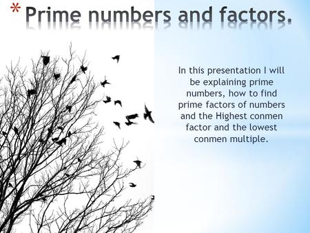 In this presentation I will be explaining prime numbers, how to find prime factors of numbers and the Highest conmen factor and the lowest conmen multiple.