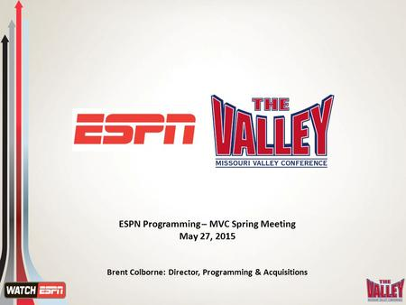ESPN Programming – MVC Spring Meeting May 27, 2015 Brent Colborne: Director, Programming & Acquisitions.
