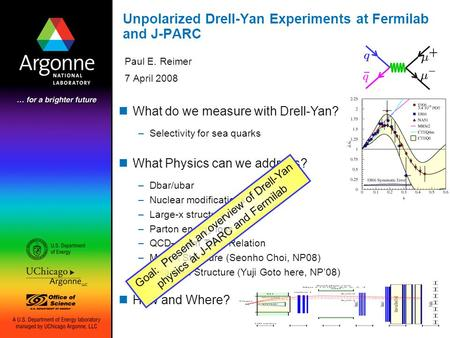 Unpolarized Drell-Yan Experiments at Fermilab and J-PARC Paul E. Reimer 7 April 2008 What do we measure with Drell-Yan? –Selectivity for sea quarks What.