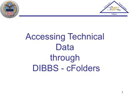 1 Accessing Technical Data through DIBBS - cFolders Performance Transformation Culture.