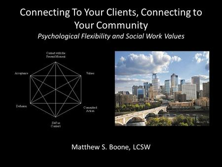 Connecting To Your Clients, Connecting to Your Community Psychological Flexibility and Social Work Values Matthew S. Boone, LCSW.