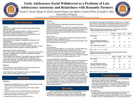 Early Adolescence Social Withdrawal as a Predictor of Late Adolescence Autonomy and Relatedness with Romantic Partners. Elenda T. Hessel, Megan M. Schad,
