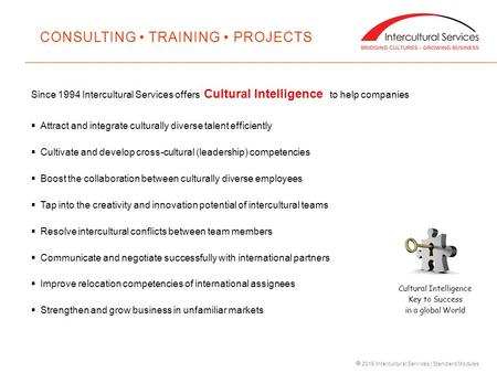  2015 Intercultural Services | Standard Modules Since 1994 Intercultural Services offers Cultural Intelligence to help companies  Attract and integrate.