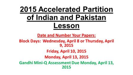 Representation on the Partition of India - Essay Example