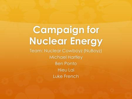 Campaign for Nuclear Energy Team: Nuclear Cowboyz (NuBoyz) Michael Hartley Ben Ponto Hieu Lai Luke French.