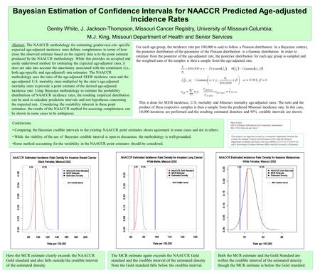 Bayesian Estimation of Confidence Intervals for NAACCR Predicted Age-adjusted Incidence Rates Gentry White, J. Jackson-Thompson, Missouri Cancer Registry,