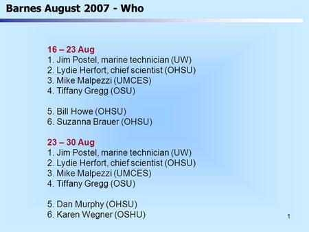 1 Barnes August 2007 - Who 16 – 23 Aug 1. Jim Postel, marine technician (UW) 2. Lydie Herfort, chief scientist (OHSU) 3. Mike Malpezzi (UMCES) 4. Tiffany.