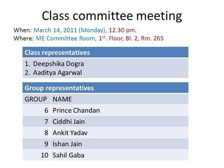 Class committee meeting When: March 14, 2011 (Monday), 12.30 pm. Where: ME Committee Room, 1 st. Floor, Bl. 2, Rm. 265 Class representatives 1.Deepshika.