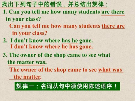 找出下列句子中的错误,并总结出规律: 1. Can you tell me how many students are there in your class? 2. I don't know where has he gone. 3. The owner of the shop came to see.