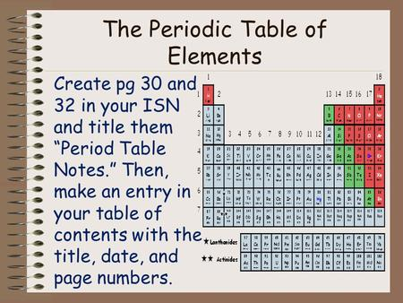 "The Periodic Table of Elements Create pg 30 and 32 in your ISN and title them ""Period Table Notes."" Then, make an entry in your table of contents with."
