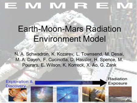 Earth-Moon-Mars Radiation Environment Model N. A. Schwadron, K. Kozarev, L. Townsend, M. Desai, M. A. Dayeh, F. Cucinotta, D. Hassler, H. Spence, M. Pourars,