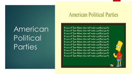 American Political Parties. Today's Objective  After today's lesson, students will be able to…  Explain the purpose of political parties  Describe.