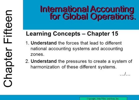 Chapter Fifteen Copyright, John Wiley and Sons, Inc. Chapter Fifteen Learning Concepts – Chapter 15 1. Understand the forces that lead to different national.