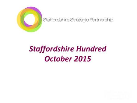 Staffordshire Hundred October 2015. Cllr Philip Atkins Chair Staffordshire Strategic Partnership.