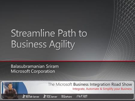 Balasubramanian Sriram Microsoft Corporation. Need for Integration −Business Requirements, Drivers and Situational Analysis Deconstructing Integration.