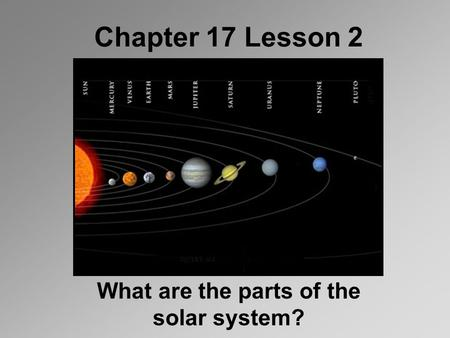 Chapter 17 Lesson 2 What are the parts of the solar system?