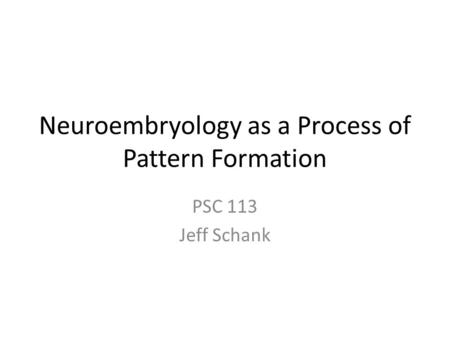 Neuroembryology as a Process of Pattern Formation PSC 113 Jeff Schank.