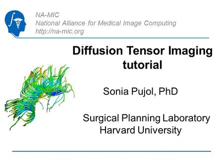 NA-MIC National Alliance for Medical Image Computing  Diffusion Tensor Imaging tutorial Sonia Pujol, PhD Surgical Planning Laboratory.